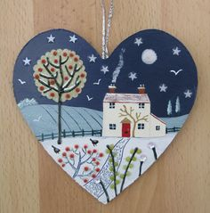 Winter Moon-mixed media on a small wooden heart (SOLD)