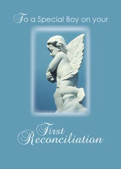Congratulate First Reconciliation Boy, Angel with  this card to wish blessings.