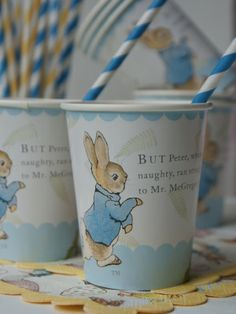 These Peter Rabbit cups, along with the matching plates, table clothes, bag tags and cupcake kits are the perfect party pleaser! Perfect for any little boy or girl