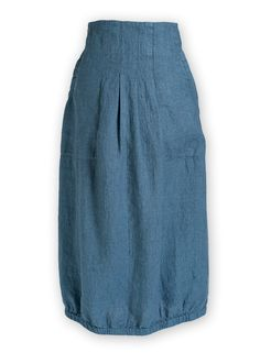 Front side. Blue pure linen skirt, with two pockets.