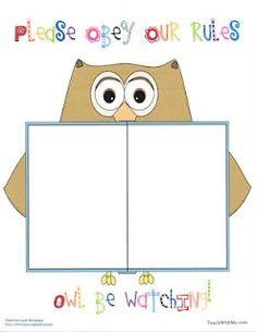 Classroom Freebies: Owl Rules Anchor Chart