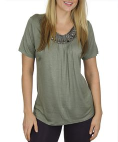 Loving this Olive & Silver Embellished Scoop Neck Top - Women on #zulily! #zulilyfinds