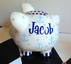Anchors Personalized Piggy Bank Size Small Hand by PreppyPiggy Personalized Piggy Bank, Money Bank, Piggy Banks, Anchors, Christmas Diy, Projects To Try, Baby Boy, Glasses, Handmade Gifts
