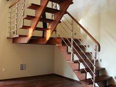 Samonośnie schody drewniane Rustic Stairs, Steel Stairs, Stairways, New Homes, House Ideas, Home Decor, Stairs, Sweet Home, Entryway