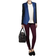 Tibi Jagger Blazer in Pacific Blue ($400) ❤ liked on Polyvore