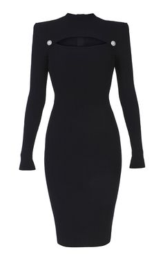 Cutout Rib-Knit Midi Dress by Balmain Classy Dress, Classy Outfits, Balmain Dress, Long Cocktail Dress, Cocktail Dresses, Black Women Fashion, Womens Fashion, Formal Evening Dresses, Dress Formal
