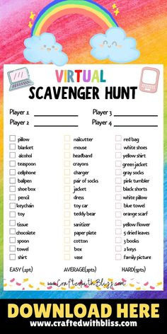 Therapy Games, Therapy Activities, Learning Activities, Icebreaker Activities, Printable Activities For Kids, Scavenger Hunt For Kids, Scavenger Hunts, Virtual Games For Kids, Meeting Games