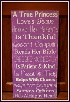 """A True Princess - Girl's Room Wall Hanging - 12"""" x 24"""" - Inspirational - Christian by Eileen Howorth"""