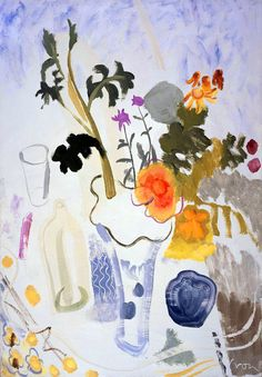 Visit us to license this and other works by Ivon Hitchens. © The Estate of Ivon Hitchens. All rights reserved. DACS/Artimage Photo: Jonathan Clark & Co Art Floral, Flower Vases, Flower Art, Potted Geraniums, Light Of Life, Pink Rug, Tumblr, Summer Flowers, Art Lessons