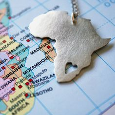 African Pendant Africa Necklace Continent Pendant sterling silver Map of Africa African Love from LolaAndCash on Etsy. Africa Map, Out Of Africa, Africa Travel, South Africa, Africa Continent, Maputo, Africa Necklace, African Love, African Safari