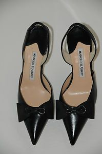 New MANOLO BLAHNIK Black Carolyne w Bow SHOES 37.5 7.5 7   eBay