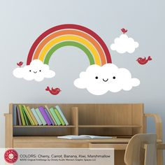 Our best-selling Happy Rainbow Wall Decal is a removable vinyl wall decal that brings joy, cuteness and color to a baby nursery or kids room.