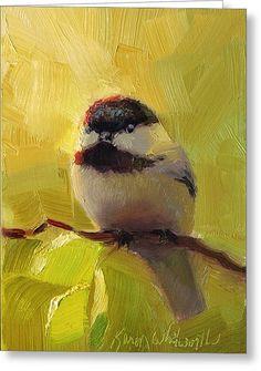 Chatty Chickadee - Cheeky Bird Greeting Card by Karen Whitworth