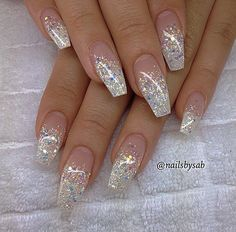Pink and white ombre acrylic nails best nail designs 2018 glitter tip coffin - medium Fancy Nails, Trendy Nails, Cute Nails, My Nails, Bling Nails, Fabulous Nails, Gorgeous Nails, Nail Art Paillette, Nails Yellow