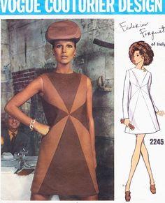 1960s Mod Forquet Sunburst Dress Pattern Vogue Couturier Design 2245 Elegant A Line Jewel Neckline Dress Bust 34 Vintage Sewing Pattern