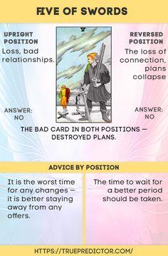 The five of Swords tarot card meaning Tarot Interpretation, Tarot Cards For Beginners, Tarot Card Spreads, Tarot Astrology, Love Tarot, Tarot Card Meanings, Tarot Readers, Oracle Cards, Card Reading