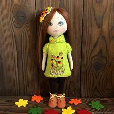Купить Интерьерная куколка. Осенняя малышка. - комбинированный, кукла, кукла ручной работы, интерьерная кукла