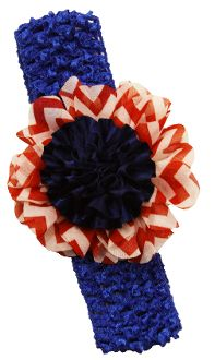 "3"" Chevron Chiffon Flower Clip on Crochet Headband"