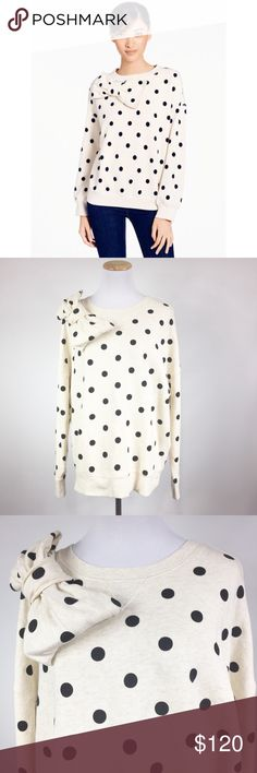 "KATE SPADE DECO DOT SWEATSHIRT GUC A dainty bow details the front yoke of a long-sleeve cotton sweatshirt patterned in a classic dot motif. A boxy silhouette and deep ribbing at the cuffs and hemline further enhance the cozy appeal. 24"" length (size Medium). 100% cotton. Machine wash cold, tumble dry low. By kate spade new york; imported. kate spade Tops Sweatshirts & Hoodies"