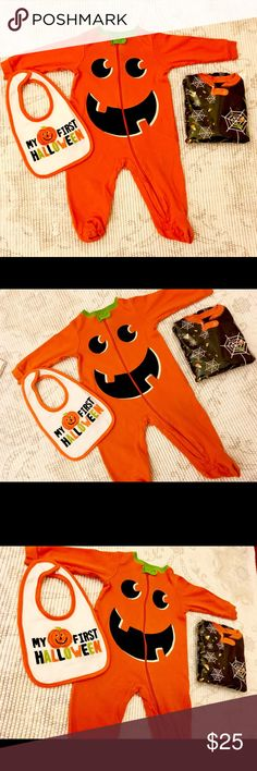 Halloween lot! Never worn! Pumpkin boy girl 6 9 M All 3 items are in excellent condition!  The bib and black onesie were never worn and the pumpkin one has no major signs of previous wear. A perfect fall Halloween lot! Size 6/9 months Matching Sets