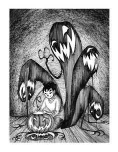 leah elaine art(wick): Pen, Ink, and Scratchboard - happy halloween :)