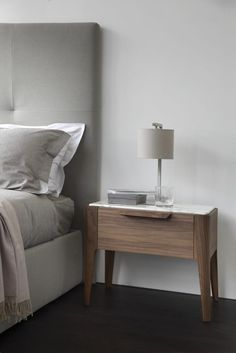 Marble top of wooden bedside table Ziggy Night. Walnut and marble nightstand or end table Marble Nightstand, Rustic Nightstand, Nightstand Ideas, Modern Bedside Table, Bedside Tables, Table Lamps, Drum Table, Modern Lamps, Bedside Lamp