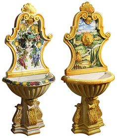 Italian Ceramic Wall Fountains...aren't they lovely?!