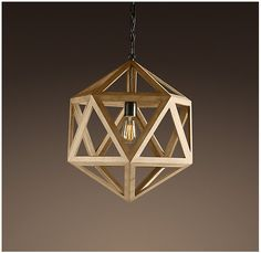 wood polyhedron pendant - RESTORATION HARDWARE - $325