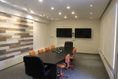 We updated our conference room using Accent Planks for a beautiful, warm space. Where will you use them in your home? Building Products, Pvc Wall, Moldings And Trim, Accent Walls, Planks, Funeral, Home Office, Conference Room, Diy Projects
