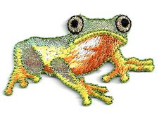 FROG/FRONT ~ SHIMMERY/EMBROIDERED IRON ON APPLIQUE