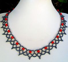 Free pattern for beaded necklace Сranberry Click on link to get pattern - http://beadsmagic.com/?p=7173