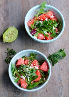 Watermelon Mint and Feta Salad. Watermelon Mint and Feta Salad with Arugula. A great summer time salad! I Love Food, Good Food, Yummy Food, Clean Eating, Healthy Eating, Healthy Food, Vegetarian Recipes, Cooking Recipes, Healthy Recipes
