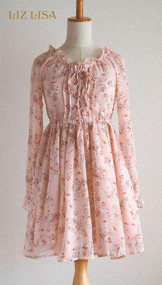 LIZ LISA Fluffy Floral Chiffon Dress, Lace-up Ruffle frill Lolita SizeM JPN…