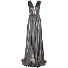 Dhela Silver plunge-front lamé gown ($1,115) ❤ liked on Polyvore featuring dresses, gowns, silver gown, plunge dress, silver ball gowns, low cut back dress and low back gown