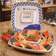 Kansas State Wildcats Ceramic Chip and Dip Square Tray