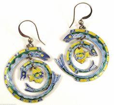 Zarah Enamel Fish & Eels Sterling Silver Earrings