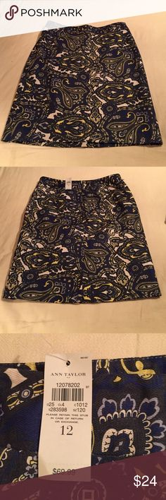 """Ann Taylor Pencil Skirt Black paisley print pencil skirt. 💯% Cotton. Fabric has no stretch.  Length - Top of waistband to bottom of hem.  17.5"""" Waist - Measured side to side across the top of the waistband, and then doubled.  36""""  Hips - Measured side to side, 9"""" down from top of waistband, and then doubled.  43"""" Ann Taylor Skirts Pencil"""