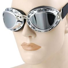 Steampunk Cyber Punk Goth Style Aviator Pilot Mini Size Chrome Plated Frame Reflective Lens Adjustable Elastic Strap Padded Frost Free Unisex Men Women UV Goggles Eyewear Sunglasses Costume Helmet Trim Decorative Cosplay Mask Tactical Gear by Astra Depot.