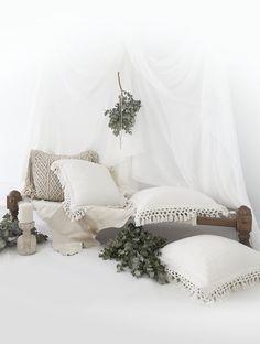 Losari Home - Kalyana and Indrani Macrame Cushions && Charvi Cushions. www.losari.com.au