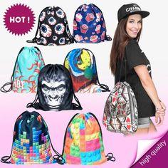 3D Fashion Printed Emoji Unisex Backpacks Travel Softback Women/Men Mochilas Feminina Harajuku Drawstring Bag BP001