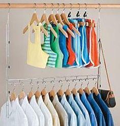 Closet Doubler Wardrobe Rod Adjustable Clothes Space Storage Organizer Hanger