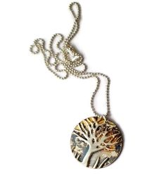 This inspirational gift is a tree of life necklace handcrafted with choice of small or large tree of life pendant and chain length. Handcrafted tree of life in beautifully oxidized sterling silver. This piece of artisan jewelry, a tree necklace is an inspirational womens gift. Give her a gift inspired by nature. Typically organic and with a handcrafted appeal, Each necklace is handmade, oxidized and pressed ● Tree Pendant is: (large is 1.3 in (34 mm)) (medium is: 1 in (25.4 mm)) see size…