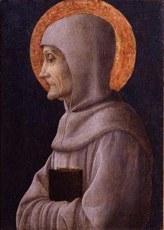 Andrea Mantegna - San Bernardino da Siena - 1450 circa - percorso Santi - Accademia Carrara di Bergamo Pinacoteca