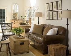 leather sofa with a neutral look... The Painted Hive
