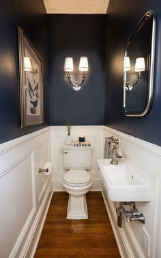 41 Cool Half Bathroom Ideas And Designs You Should See # bathroom # . 41 Cool Half Bathroom Ideas And Designs You Should See # bathroom Small Half Bathrooms, Small Half Baths, Small Powder Rooms, Tiny Half Bath, Dark Blue Bathrooms, Master Bathrooms, Decorating Small Bathrooms, Small Bathroom With Bath, Modern Powder Rooms