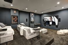 Cool Unfinished Basement Remodeling Ideas for any Budget Movie theater rooms Home Theater Setup, Best Home Theater, At Home Movie Theater, Home Theater Rooms, Home Theater Design, Home Theater Seating, Home Theatre, Sala Grande, Build Your Own House