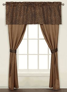 Leopard 5 Piece Decorative Curtain Set, by United Curtains, light weight sheer fabric with brown and black leopard pattern on valance and tie-backs. #KidsCurtains