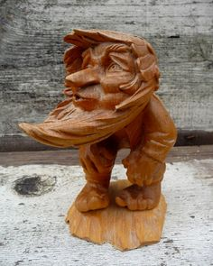 Unique Wood Carving Whistling in the Wind Gnome Elf Man Vintage Great Detailing Fabulous Face