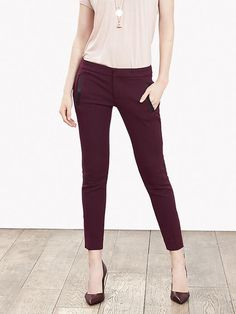 Sloan-Fit Faux-Leather Trim Ankle Pant Product Image