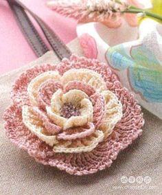 Crochet Rose Motif - Free Crochet Diagram - Lower Diagram Is Correct One - (anthropologyandcraft.wordpress)
